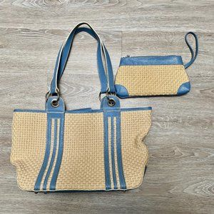 New  MAXX  Faux Leather & Straw Tote Bag Wristlet